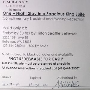 Embassy suites hotel voucher for Sale in Puyallup, WA