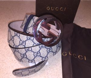 Gucci Authentic Supreme G Buckle Blue Leather Belt for Sale in Queens, NY