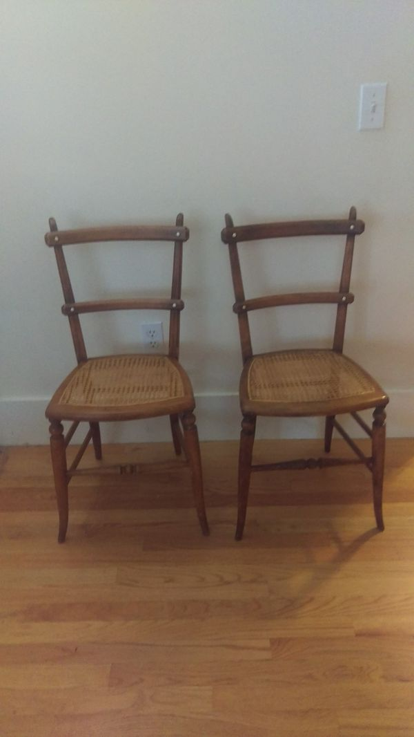 Pair of antique caned seat chairs