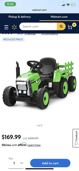 Costway 12V Kids Ride On Tractor with Trailer Ground Loader w/Remote Control &LED Lights for Sale in Irvine, CA