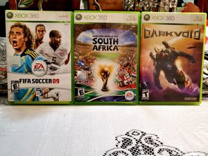 Fifa Soccer 09, 2010 Fifa World Cup South Africa, and Darkvoid for Xbox 360 for Sale in San Jacinto, CA