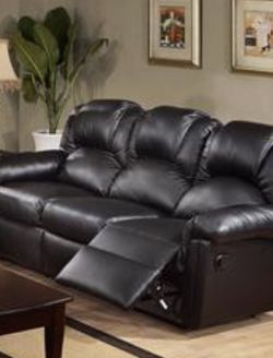 Black Bonded Leather Recliner Sofa Brand New for Sale in Anaheim,  CA