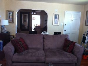 Sofa - Microfiber body with front, bottom wood trim for Sale in San Leandro, CA