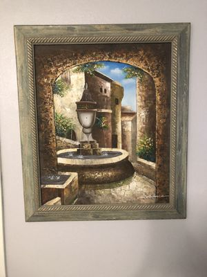 Framed Canvas Painting - Courtyard Fountain for Sale in Rolling Hills, CA
