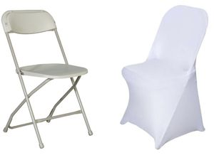 White chair covers along with baby christening back drop table skirts and much more party supplies for Sale in Hartford, CT