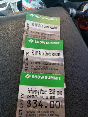 Snow summit bike park tickets for Sale in Anaheim, CA