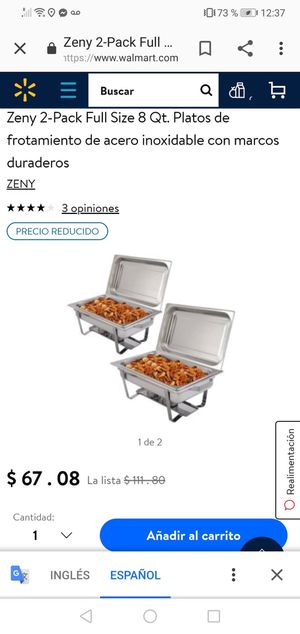 Zeny 2-Pack Full Size 8 Qt. Stainless Steel Chafing Dishes with Durable Frames for Sale in Bakersfield, CA