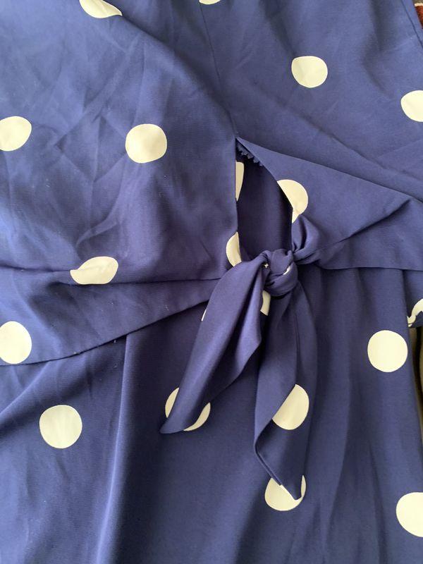 Women's Blue and White Polka Dot Dress