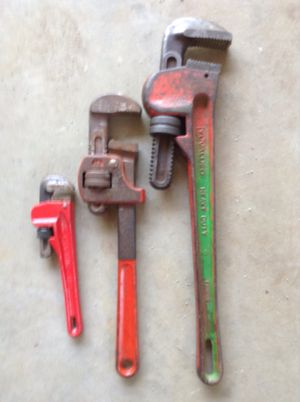 3 Adjustable pipe wrenches for Sale in Hudson, NH