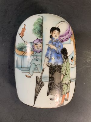 Vintage Chinese Metal/Handpainted-Porcelain Tooled/Jewelry/Trinket Box for Sale in Dade City, FL