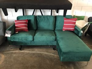 Green Velvet Sectional Sofa ‼️Black Friday Sale‼️ for Sale in Dallas, TX