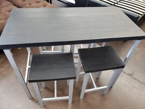 5 pc counter height black and silver for Sale in Sacramento, CA