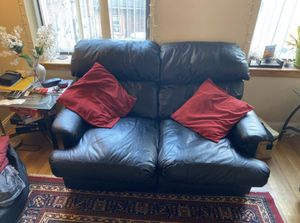 Black Leather 3-Seat Sofa plus Love Seat Couch for Sale in Boston, MA