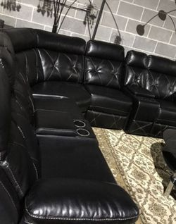 Black Reclining Tufted Leather Sectional for Sale in Atlanta,  GA