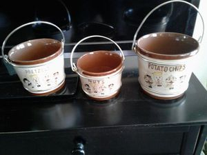 Sweet Adeline porcelain containers of pretzels nuts and potato chips for Sale in Sun City, AZ