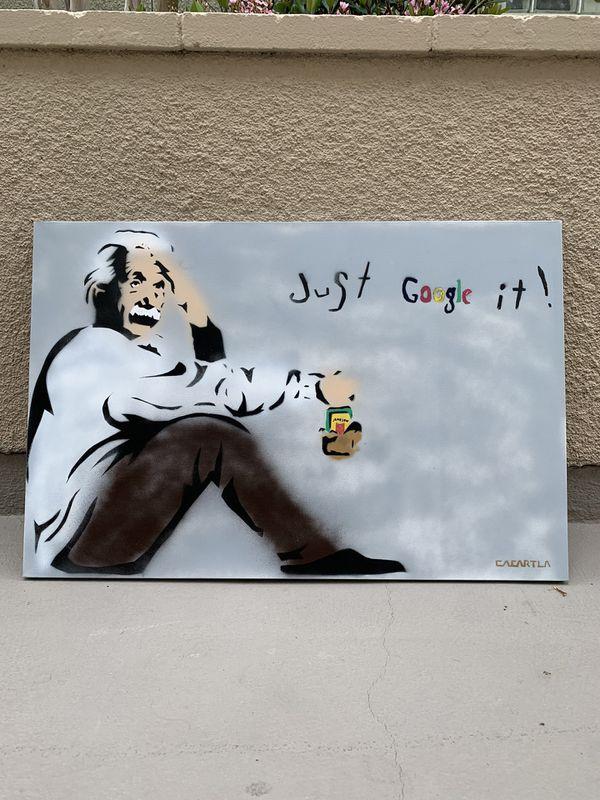 Just Google It 24x36 Einstein Graffiti Canvas