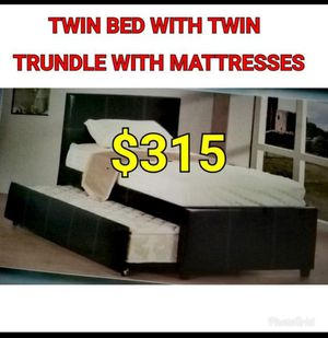 TWIN BED WITH TWIN TRUNDLE WITH MATTRESSES for Sale in Los Angeles, CA