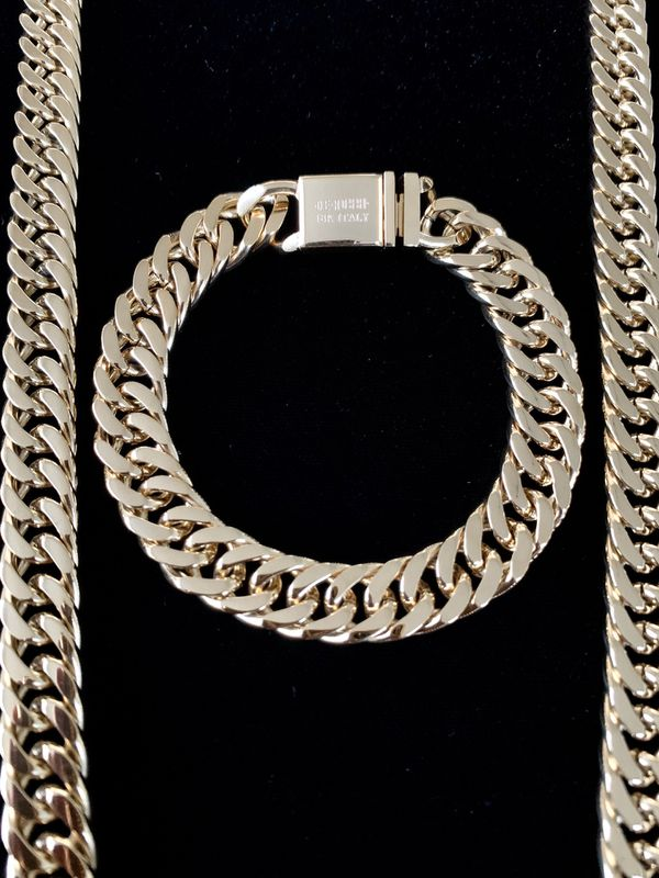 ⭐️ HAPPY VALENTINES DAY PERFECT GIFT!! ⭐️ DOUBLE CUBAN LINK CHAIN 18K GOLD MADE IN ITALY