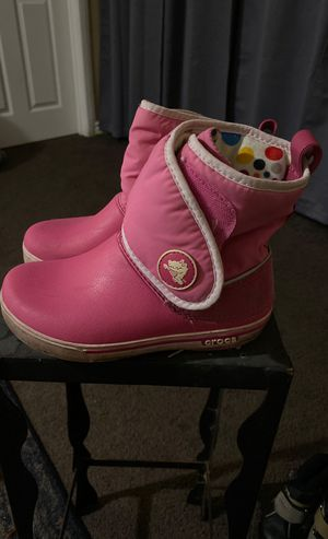 Pink Snow Rain Boots size little girl 12 CROCS for Sale in Carson, CA
