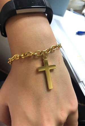 Gold plated cross bracelet for Sale in Garland, TX