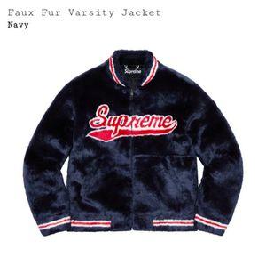 Supreme Faux fur varsity jacket size large navy for Sale in Vista, CA