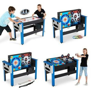 MD Sports 48 Inch 4-IN-1 Swivel Combo Game Table, Air Powered Hockey, Archery, Target Shooting and Ring Toss, Blue for Sale in Houston, TX