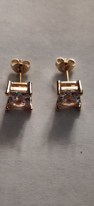 Gold Plated Diamond Earrings for Sale in Pleasant Hill, IA