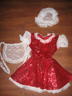 3-pc Rubie's Halloween Red Sequinned Dotted Maid Costume w Apron and Headwear Girls sz M (4-6T) for Sale in Los Angeles, CA