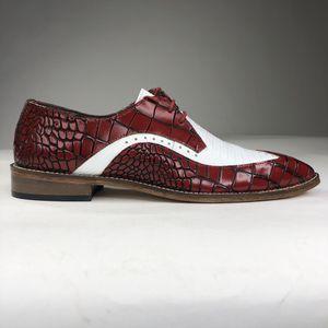 Stacy Adams Trazino Men Shoes Oxford White Red Crocodile Print Leather Size 10 for Sale in North Miami, FL