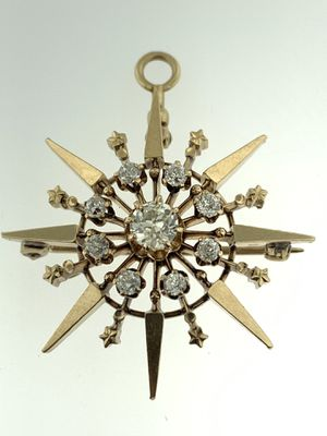 ANTIQUE VICTORIAN DIAMOND & SOLID 14K GOLD~STARBURST/STAR BROOCH/PIN OR PENDANT for Sale in Miami, FL