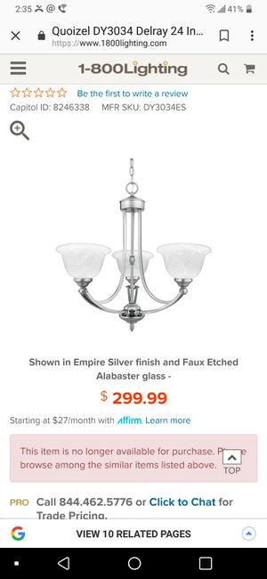 Hanging Ceiling Light Fixture for Sale in Melvindale, MI