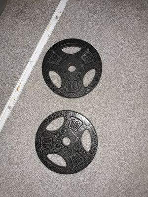 Set of 10 lbs circle weights for barbell for Sale in Mauldin, SC