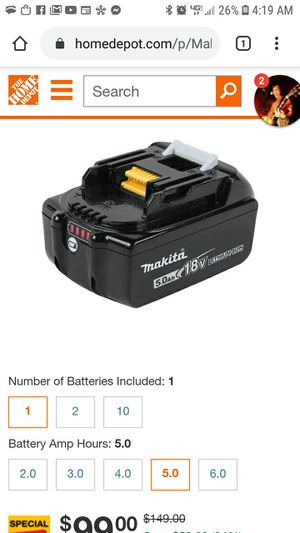 Makita 5.0ah battery for Sale in Springfield, OR