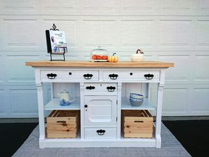 Country kitchen island/buffet table with storage for Sale in Westerville, OH