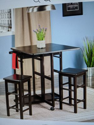 Brand New (in the box) Winsome Wood Suzanne 3-Piece Kitchen Set with Stools in Coffee Finish for Sale in Cincinnati, OH