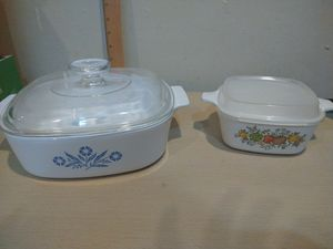 Corningware Stove-top 2pc Pyroceram Blue Cornflower Casserole Set for Sale in Hialeah, FL