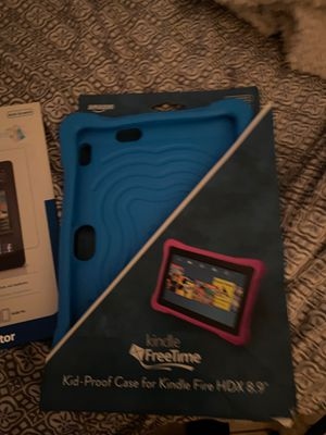 Brand New kindle free time kid proof case for kindle fire and two screen protectors for Sale in Port Richey, FL