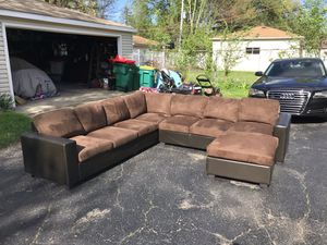 Leather and fabric brown couch L shaped large / sofa l shape / sectional 3 pieces / with ottoman for Sale in Riverwoods, IL