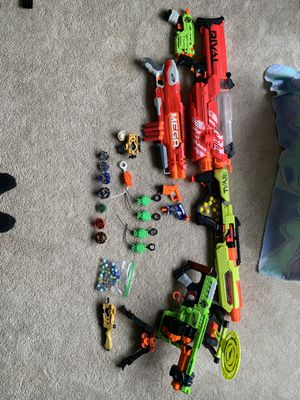 Nerf guns + Beyblades package deal!!! for Sale in Hagerstown, MD