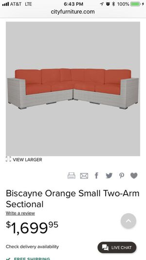 Biscayne Orange Small Two-Arm Sectional and White Rectangular Coffee Table for Sale in Parkland, FL