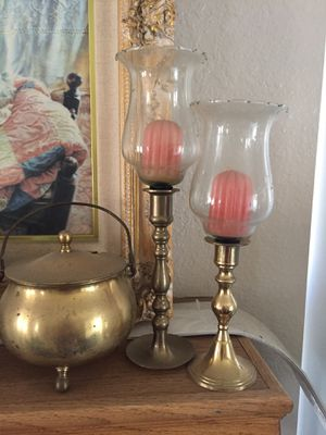 2-vintage princess house crystal & brass candle holders for Sale in Rancho Cucamonga, CA