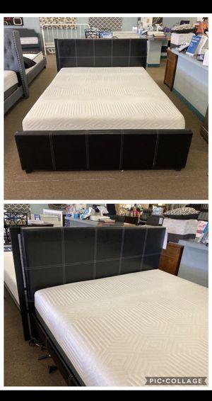 Queen Bed with Memory Foam Mattress for Sale in Ontario, CA