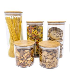 5 PC Airtight Glass Food Storage Jars Set Canister Kitchen Container With Natural Bamboo Lids For Nuts, Pasta, Flour, Sugar, Rice, Cookies, Candy for Sale in Beaverton, OR