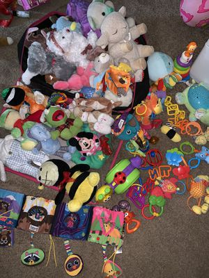 Huge bag of infant toys, wall projector, musical plush sheep, teethers for Sale in Philadelphia, PA