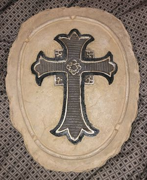 Oval Piece of Clay with Beautiful Cross Inserted in the Middle of the Clay-Wall Hanging for Sale in Lancaster, TX