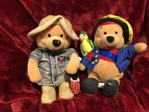 Disney Winnie the Pooh pirate with parrot on shoulder & Winnie the Pooh plush is wearing jacket, hat and umbrella - beanie babies size lot toy sale ! for Sale in Phoenix, AZ