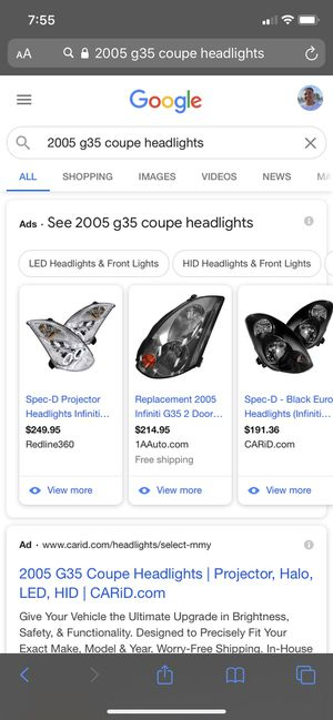 2005 G35 Coupe Headlights for Sale in Salida, CA