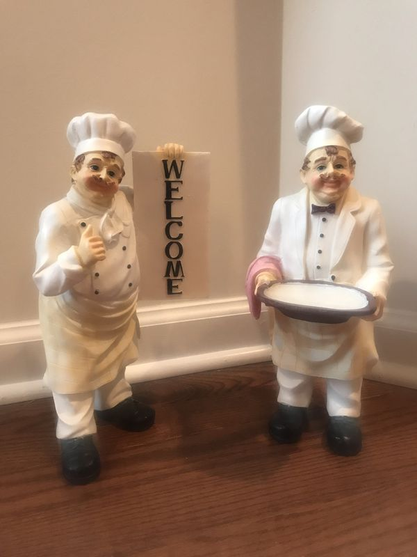 2 HAND PAINTED WOODEN CHEF FIGURINES