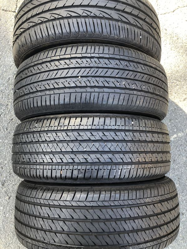 set 4 used tire 205/55R16 two BRIDGESTONE one FIRESTONE and one HANKOOK three used tire have patch set 4 used tire $120