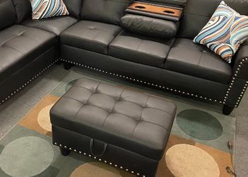 SPECIAL DEAL‼️ Black Sectional w/ Storage Ottoman (2 Pillows includes)‼️ SAME DAY DELIVERY‼️No credit check‼️ for Sale in Las Vegas,  NV